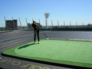 Golf driving range signage for top of the MCG
