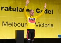 Cadel Evans welcome to Melbourne banner at Fed Square